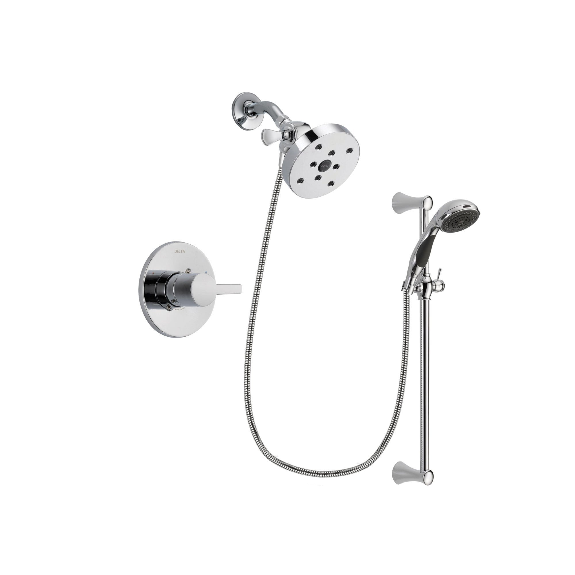 Delta Compel Chrome Shower Faucet System w/ Shower Head and Hand Shower DSP0814V