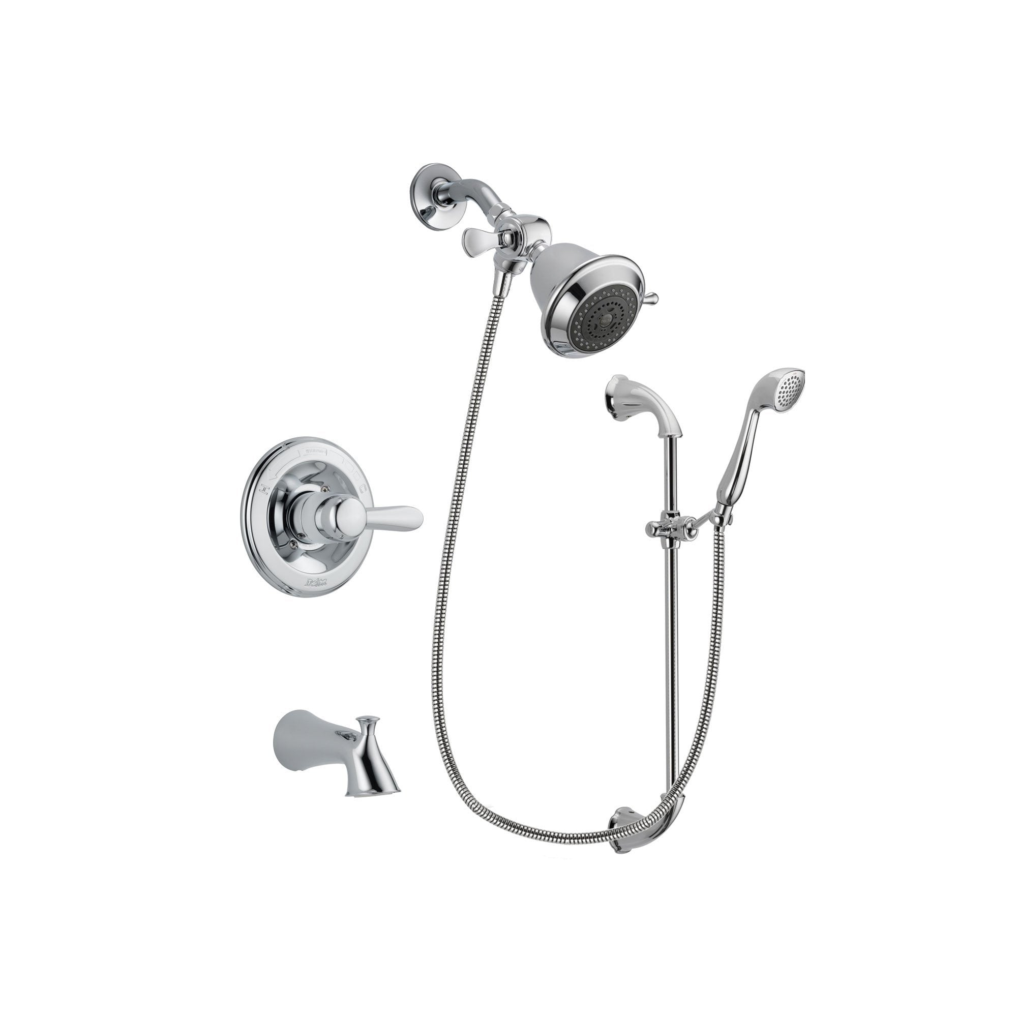 Delta Lahara Chrome Finish Tub And Shower Faucet System Package With Shower  Head And Handheld Shower