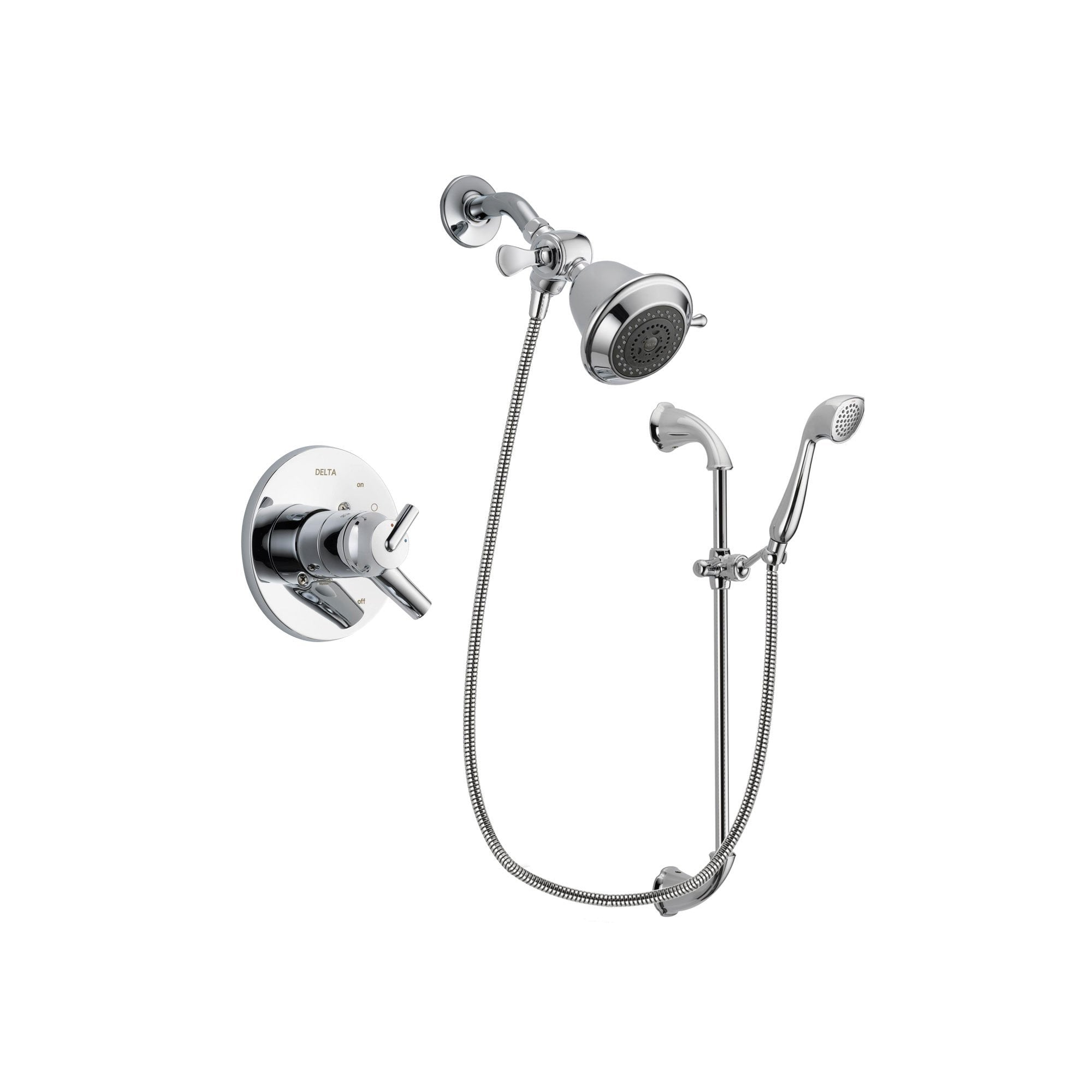 Delta Trinsic Chrome Shower Faucet System w/ Showerhead and Hand Shower DSP0856V