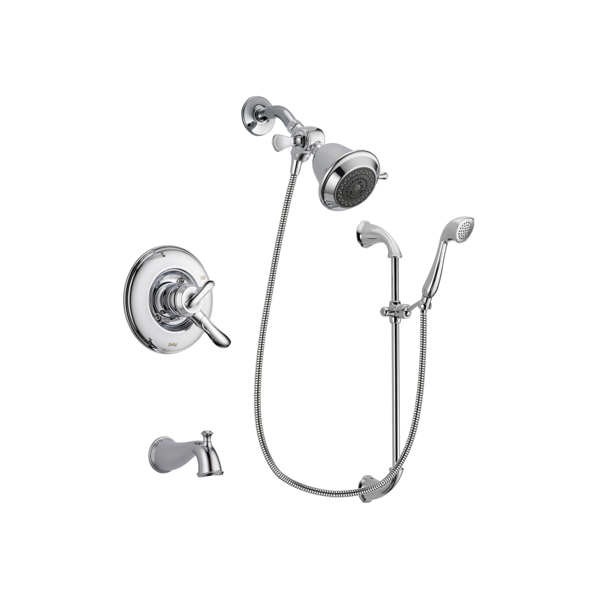 Delta Linden Chrome Finish Dual Control Tub And Shower Faucet System  Package With Shower Head And