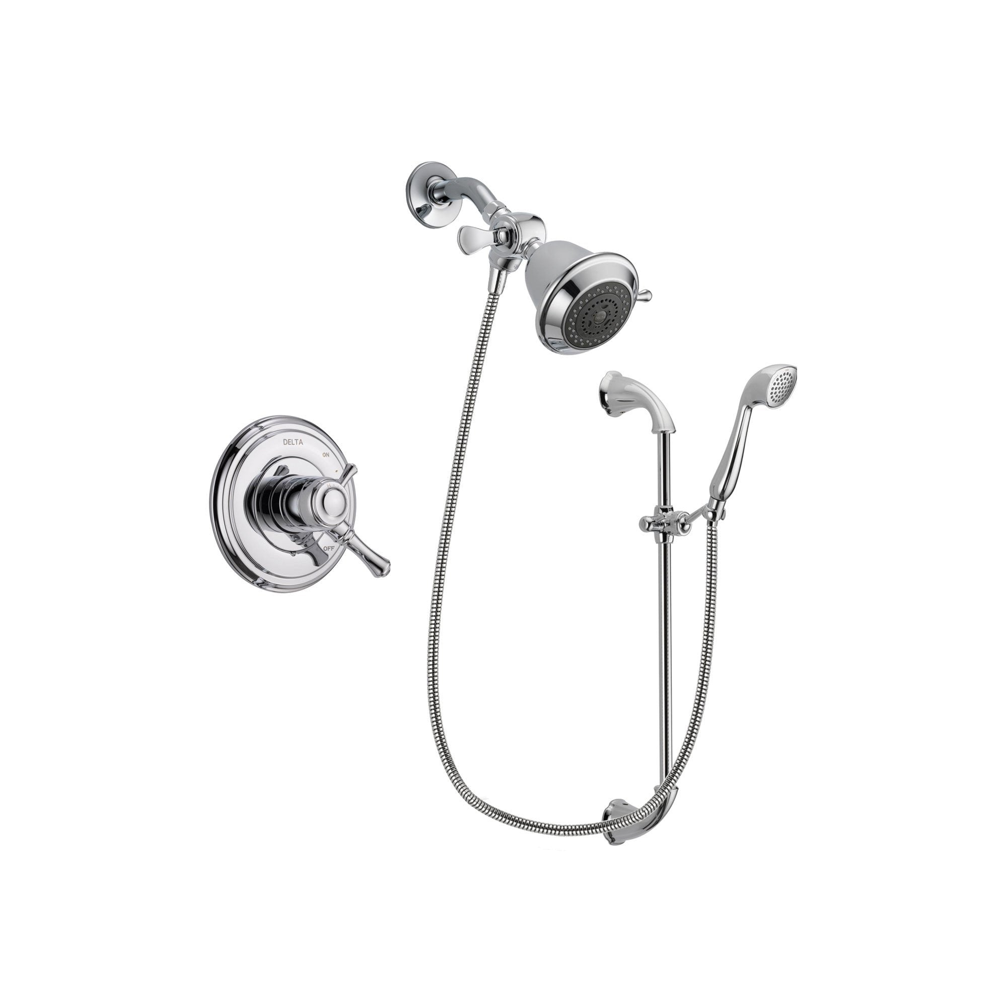 Delta Cassidy Chrome Shower Faucet System w/ Showerhead and Hand Shower DSP0866V
