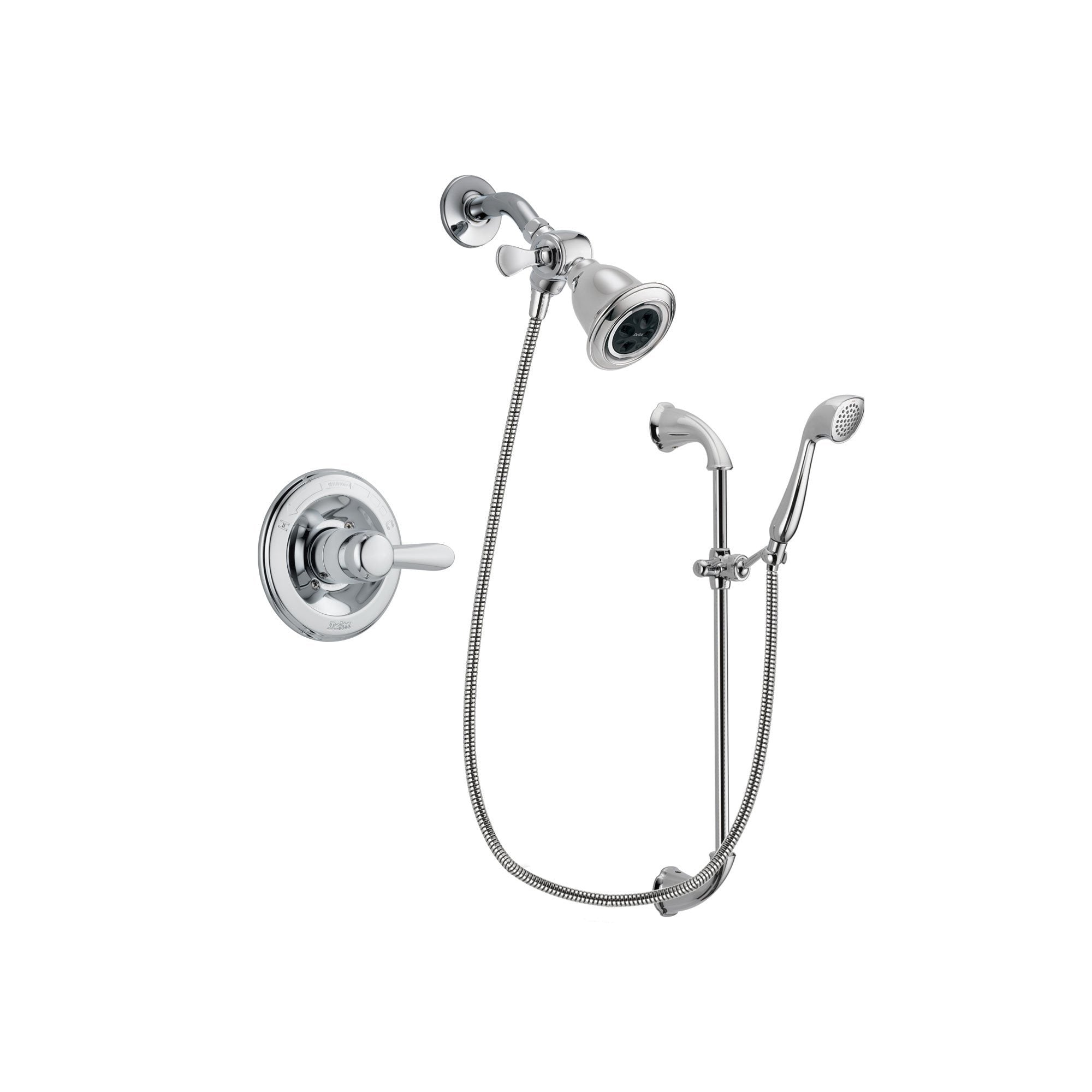 Delta Lahara Chrome Finish Shower Faucet System Package with Water Efficient Showerhead and Handheld Shower with Slide Bar Includes Rough-in Valve DSP0878V