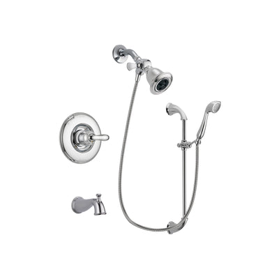 Delta Linden Chrome Finish Tub and Shower Faucet System Package with Water Efficient Showerhead and Handheld Shower with Slide Bar Includes Rough-in Valve and Tub Spout DSP0885V