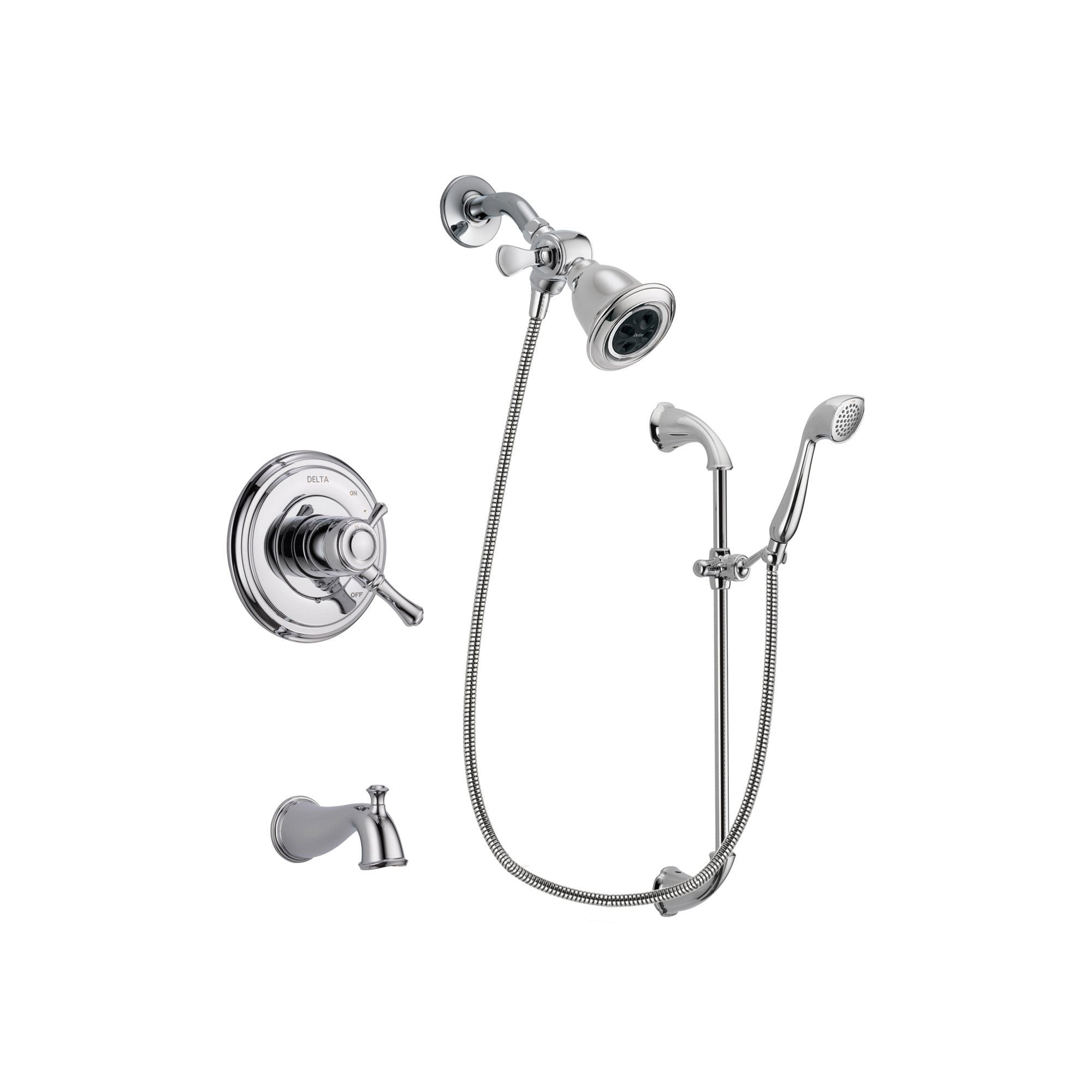 Delta Cassidy Chrome Tub and Shower Faucet System with Hand Shower DSP0899V