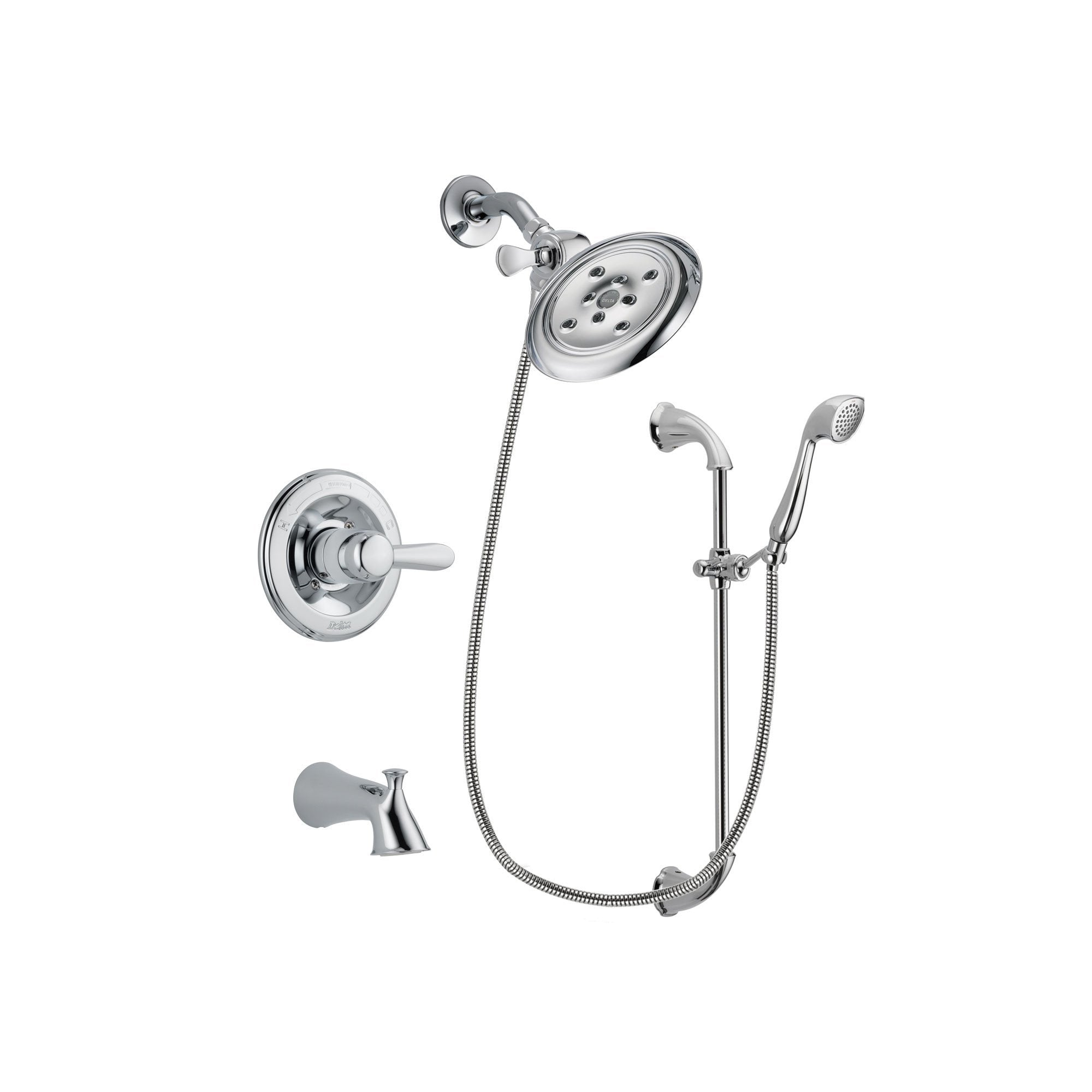 Gentil Delta Lahara Chrome Finish Tub And Shower Faucet System Package With Large Rain  Showerhead And Handheld