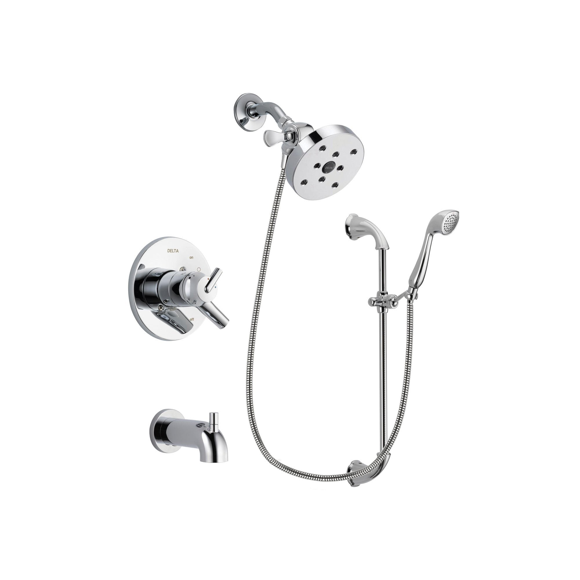 delta trinsic chrome finish dual control tub and shower faucet