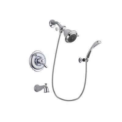 Delta Victorian Chrome Finish Thermostatic Tub and Shower Faucet System Package with Shower Head and Wall-Mount Bracket with Handheld Shower Spray Includes Rough-in Valve and Tub Spout DSP0971V