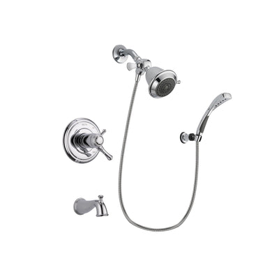 Delta Cassidy Chrome Finish Thermostatic Tub and Shower Faucet System Package with Shower Head and Wall-Mount Bracket with Handheld Shower Spray Includes Rough-in Valve and Tub Spout DSP0977V