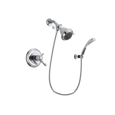 Delta Cassidy Chrome Finish Thermostatic Shower Faucet System Package with Shower Head and Wall-Mount Bracket with Handheld Shower Spray Includes Rough-in Valve DSP0978V