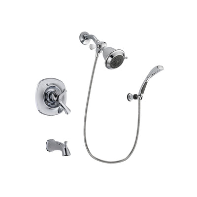 Delta Addison Chrome Finish Dual Control Tub and Shower Faucet System Package with Shower Head and Wall-Mount Bracket with Handheld Shower Spray Includes Rough-in Valve and Tub Spout DSP0997V