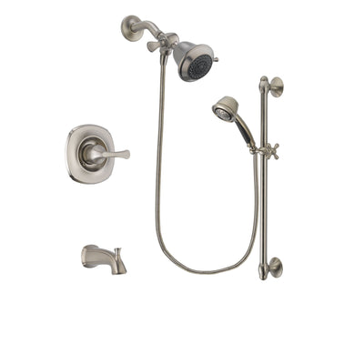 Delta Addison Stainless Steel Finish Tub and Shower Faucet System Package with Shower Head and 5-Spray Personal Handshower with Slide Bar Includes Rough-in Valve and Tub Spout DSP1257V