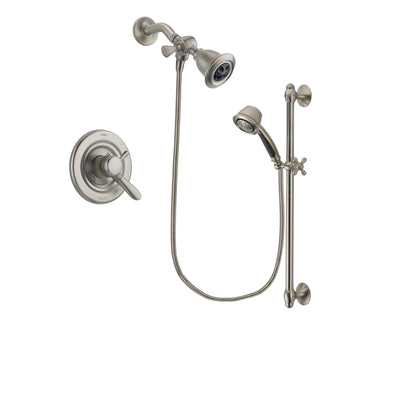 Delta Lahara Stainless Steel Finish Dual Control Shower Faucet System Package with Water Efficient Showerhead and 5-Spray Personal Handshower with Slide Bar Includes Rough-in Valve DSP1296V
