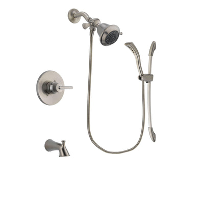 Delta Trinsic Stainless Steel Finish Tub and Shower Faucet System Package with Shower Head and Handshower with Slide Bar Includes Rough-in Valve and Tub Spout DSP1389V