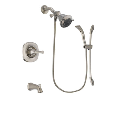 Delta Addison Stainless Steel Finish Tub and Shower Faucet System Package with Shower Head and Handshower with Slide Bar Includes Rough-in Valve and Tub Spout DSP1393V