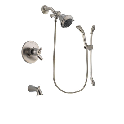Delta Trinsic Stainless Steel Finish Dual Control Tub and Shower Faucet System Package with Shower Head and Handshower with Slide Bar Includes Rough-in Valve and Tub Spout DSP1399V