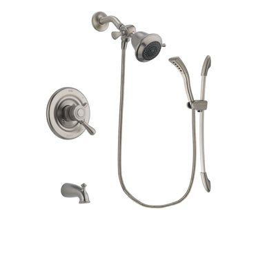Delta Leland Stainless Steel Finish Dual Control Tub and Shower Faucet System Package with Shower Head and Handshower with Slide Bar Includes Rough-in Valve and Tub Spout DSP1403V