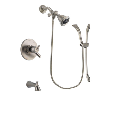 Delta Trinsic Stainless Steel Finish Dual Control Tub and Shower Faucet System Package with Water Efficient Showerhead and Handshower with Slide Bar Includes Rough-in Valve and Tub Spout DSP1433V
