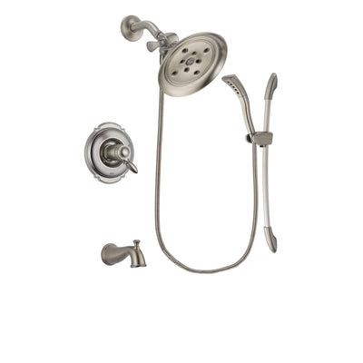 Delta Victorian Stainless Steel Finish Thermostatic Tub and Shower Faucet System Package with Large Rain Showerhead and Handshower with Slide Bar Includes Rough-in Valve and Tub Spout DSP1447V