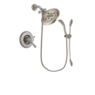 Delta Leland Stainless Steel Finish Thermostatic Shower Faucet System Package with Large Rain Showerhead and Handshower with Slide Bar Includes Rough-in Valve DSP1450V