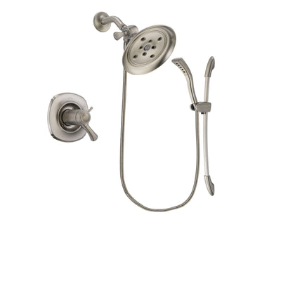 Delta Addison Stainless Steel Finish Thermostatic Shower Faucet System Package with Large Rain Showerhead and Handshower with Slide Bar Includes Rough-in Valve DSP1452V