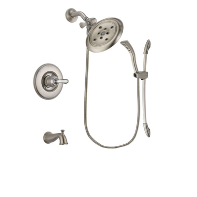 Delta Linden Stainless Steel Finish Tub and Shower Faucet System Package with Large Rain Showerhead and Handshower with Slide Bar Includes Rough-in Valve and Tub Spout DSP1463V