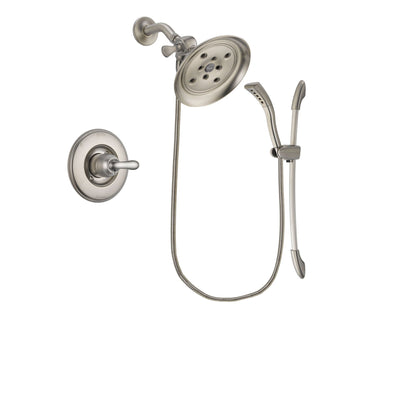 Delta Linden Stainless Steel Finish Shower Faucet System Package with Large Rain Showerhead and Handshower with Slide Bar Includes Rough-in Valve DSP1464V