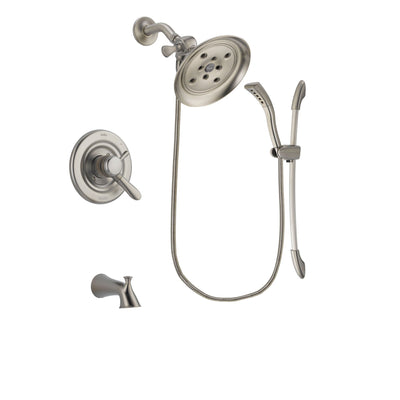 Delta Lahara Stainless Steel Finish Dual Control Tub and Shower Faucet System Package with Large Rain Showerhead and Handshower with Slide Bar Includes Rough-in Valve and Tub Spout DSP1465V