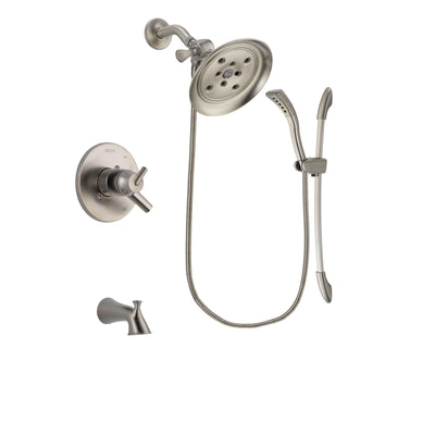 Delta Trinsic Stainless Steel Finish Dual Control Tub and Shower Faucet System Package with Large Rain Showerhead and Handshower with Slide Bar Includes Rough-in Valve and Tub Spout DSP1467V