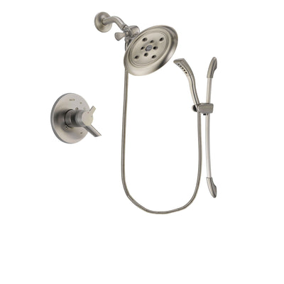 Delta Compel Stainless Steel Finish Dual Control Shower Faucet System Package with Large Rain Showerhead and Handshower with Slide Bar Includes Rough-in Valve DSP1470V