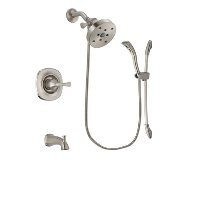 Delta Addison Stainless Steel Finish Tub and Shower Faucet System Package with 5-1/2 inch Shower Head and Handshower with Slide Bar Includes Rough-in Valve and Tub Spout DSP1495V