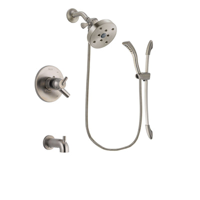 Delta Trinsic Stainless Steel Finish Dual Control Tub and Shower Faucet System Package with 5-1/2 inch Shower Head and Handshower with Slide Bar Includes Rough-in Valve and Tub Spout DSP1501V
