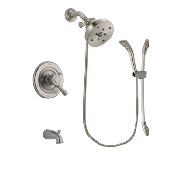 Delta Leland Stainless Steel Finish Dual Control Tub and Shower Faucet System Package with 5-1/2 inch Shower Head and Handshower with Slide Bar Includes Rough-in Valve and Tub Spout DSP1505V