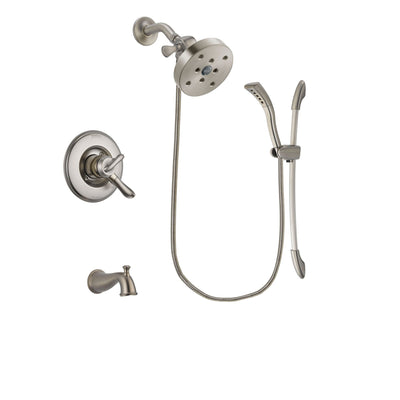 Delta Linden Stainless Steel Finish Dual Control Tub and Shower Faucet System Package with 5-1/2 inch Shower Head and Handshower with Slide Bar Includes Rough-in Valve and Tub Spout DSP1509V