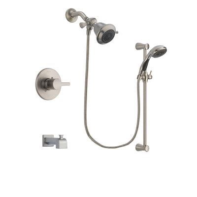 Delta Compel Stainless Steel Finish Tub and Shower Faucet System Package with Shower Head and Handheld Shower Spray with Slide Bar Includes Rough-in Valve and Tub Spout DSP1527V