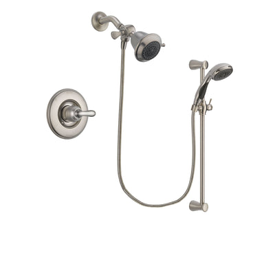 Delta Linden Stainless Steel Finish Shower Faucet System Package with Shower Head and Handheld Shower Spray with Slide Bar Includes Rough-in Valve DSP1532V