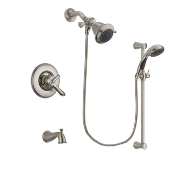 Delta Linden Stainless Steel Finish Dual Control Tub and Shower Faucet System Package with Shower Head and Handheld Shower Spray with Slide Bar Includes Rough-in Valve and Tub Spout DSP1543V