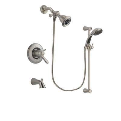 Delta Lahara Stainless Steel Finish Thermostatic Tub and Shower Faucet System Package with Water Efficient Showerhead and Handheld Shower Spray with Slide Bar Includes Rough-in Valve and Tub Spout DSP1547V