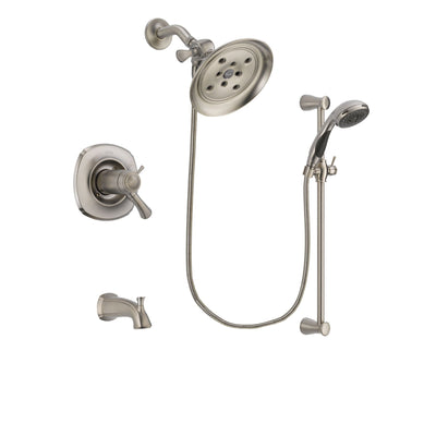 Delta Addison Stainless Steel Finish Thermostatic Tub and Shower Faucet System Package with Large Rain Showerhead and Handheld Shower Spray with Slide Bar Includes Rough-in Valve and Tub Spout DSP1587V