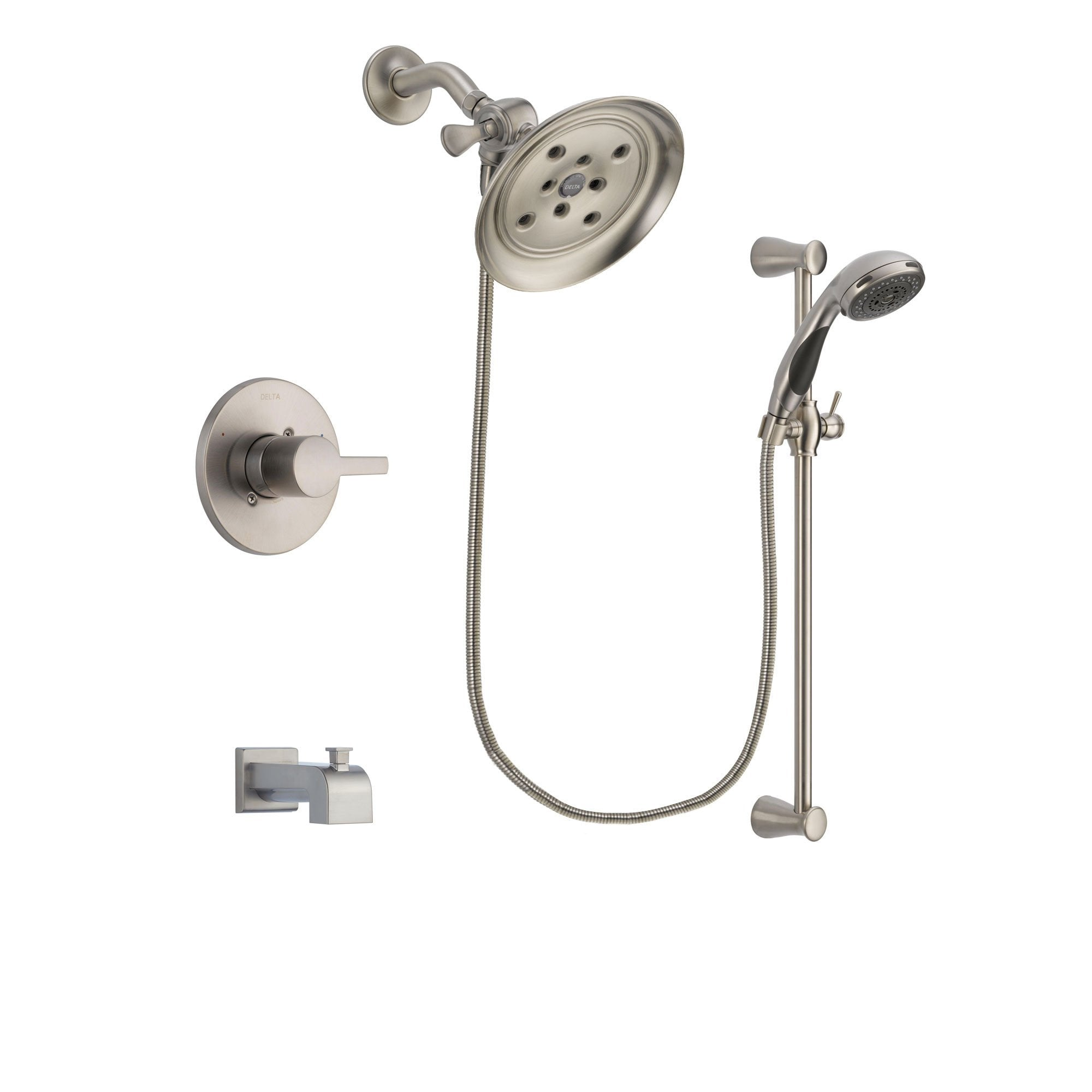 Delta Compel Stainless Steel Finish Tub and Shower System w/Hand Shower DSP1595V