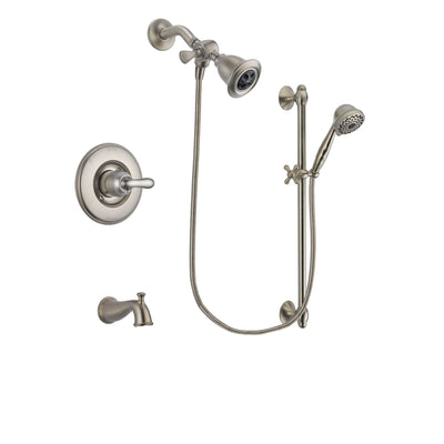 Delta Linden Stainless Steel Finish Tub and Shower Faucet System Package with Water Efficient Showerhead and 7-Spray Handheld Shower with Slide Bar Includes Rough-in Valve and Tub Spout DSP1701V