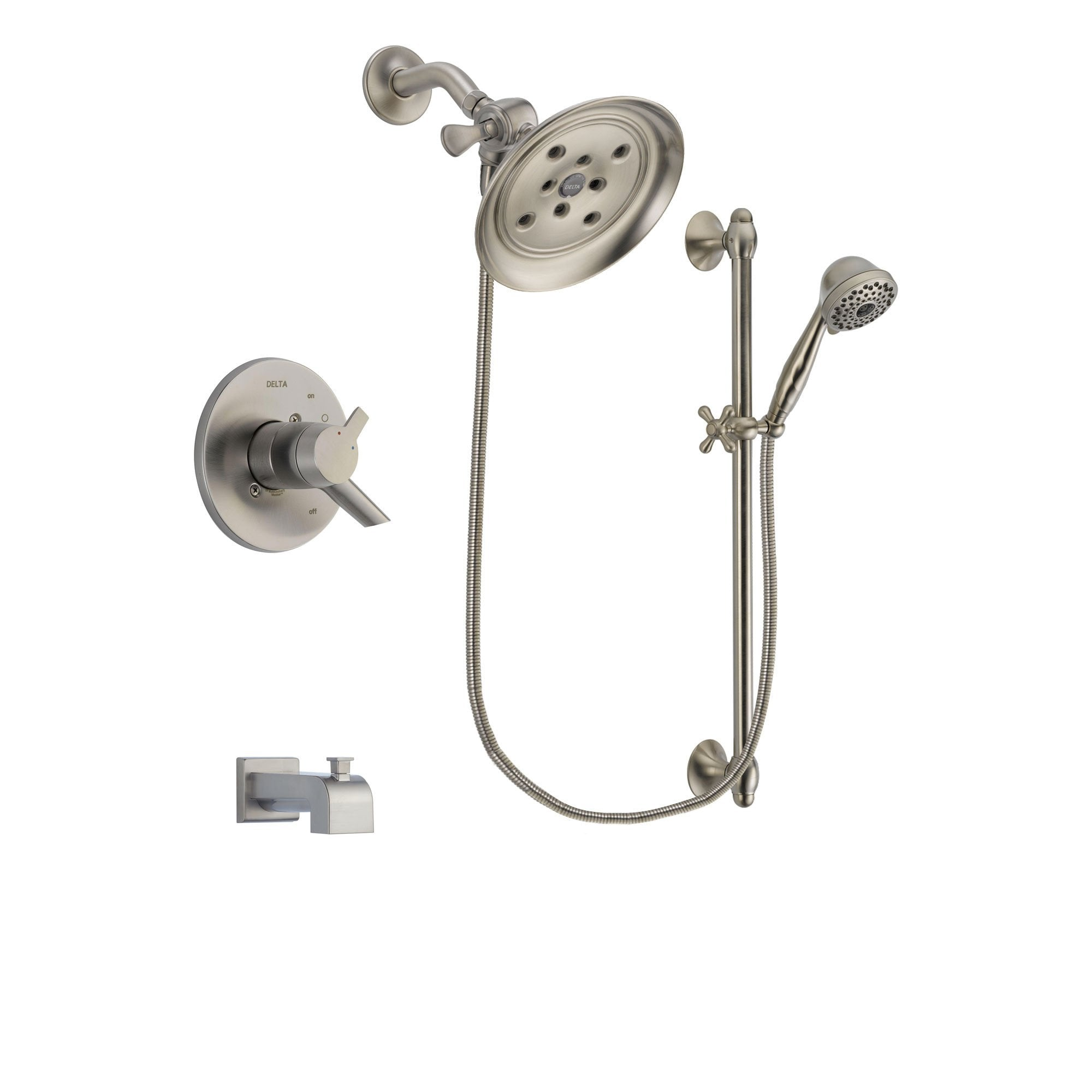 Delta Compel Stainless Steel Finish Tub and Shower System w/Hand Shower DSP1741V