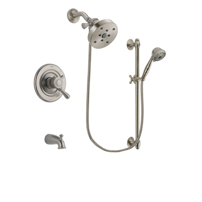 Delta Leland Stainless Steel Finish Dual Control Tub and Shower Faucet System Package with 5-1/2 inch Shower Head and 7-Spray Handheld Shower with Slide Bar Includes Rough-in Valve and Tub Spout DSP1777V