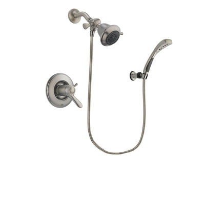 Delta Lahara Stainless Steel Finish Thermostatic Shower Faucet System Package with Shower Head and Wall Mounted Handshower Includes Rough-in Valve DSP1786V
