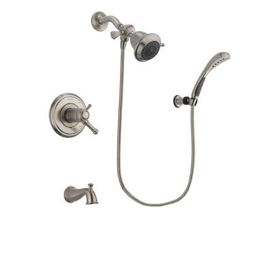 Delta Cassidy Stainless Steel Finish Thermostatic Tub and Shower Faucet System Package with Shower Head and Wall Mounted Handshower Includes Rough-in Valve and Tub Spout DSP1793V