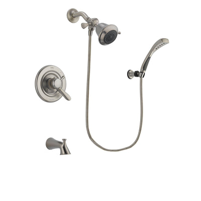 Delta Lahara Stainless Steel Finish Dual Control Tub and Shower Faucet System Package with Shower Head and Wall Mounted Handshower Includes Rough-in Valve and Tub Spout DSP1805V