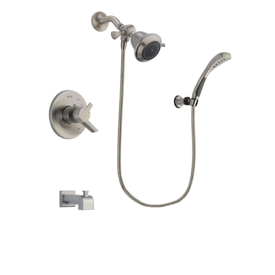 Delta Compel Stainless Steel Finish Dual Control Tub and Shower Faucet System Package with Shower Head and Wall Mounted Handshower Includes Rough-in Valve and Tub Spout DSP1809V
