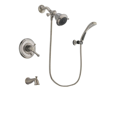 Delta Cassidy Stainless Steel Finish Dual Control Tub and Shower Faucet System Package with Shower Head and Wall Mounted Handshower Includes Rough-in Valve and Tub Spout DSP1817V