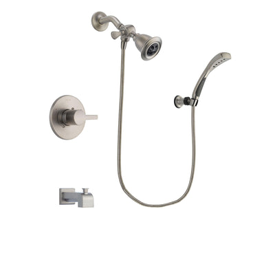 Delta Compel Stainless Steel Finish Tub and Shower Faucet System Package with Water Efficient Showerhead and Wall Mounted Handshower Includes Rough-in Valve and Tub Spout DSP1833V