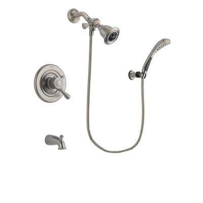 Delta Leland Stainless Steel Finish Dual Control Tub and Shower Faucet System Package with Water Efficient Showerhead and Wall Mounted Handshower Includes Rough-in Valve and Tub Spout DSP1845V