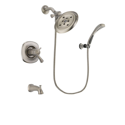 Delta Addison Stainless Steel Finish Thermostatic Tub and Shower Faucet System Package with Large Rain Showerhead and Wall Mounted Handshower Includes Rough-in Valve and Tub Spout DSP1859V
